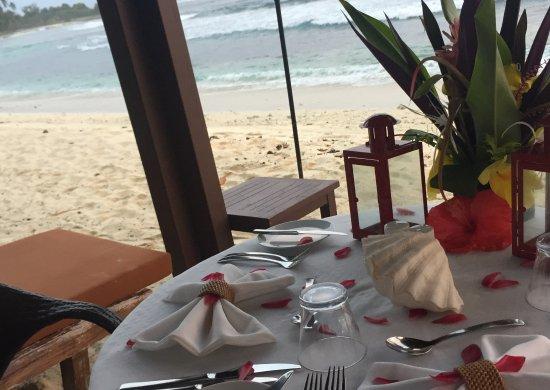 Eratap Beach Resort: Private dinner in front of your villa facing the beach. Each villa are fairly far apart.