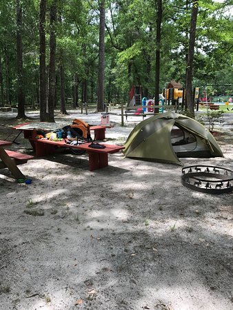 """Yemassee, SC: """"Tent Benches"""" are a welcome place to keep track of your stuff and a Bike Fix-it station to take"""