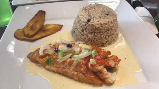 Maplewood, NJ: Fillet Snapper run down with rice and peas and plantain