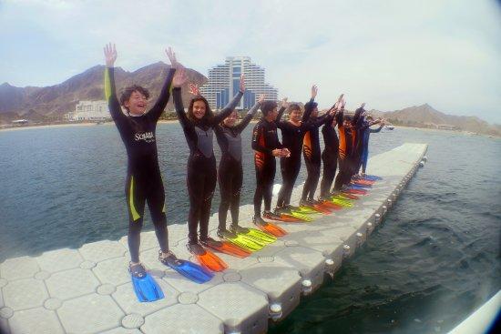 The floating jetty at Al Boom Diving, Le Meridien Al Aqah Beach Resort