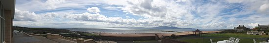 West Kilbride, UK: panorama from the beach terrace over the Firth of Clyde
