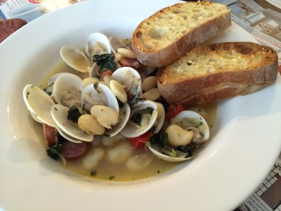 Juno Beach, FL: Clams with White Beans and Andouille Sausage