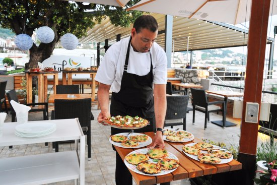 Igalo, Montenegro: Mini pizzas by chef Adnel