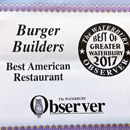 Voted Best American Restaurant for Greater Waterbury by The Waterbury Observer Readers 2017