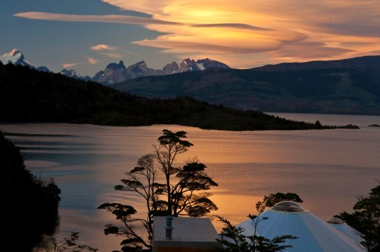 Patagonia Camp view to the Paine Massif in a beauty sunset