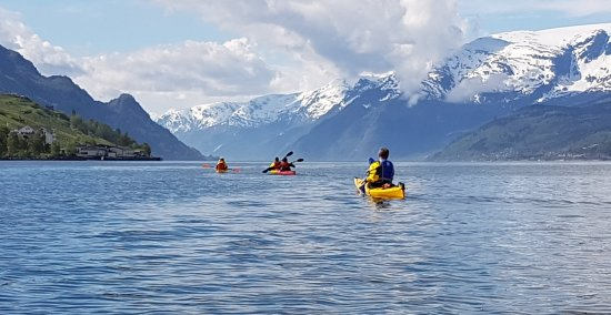 Hardanger Fjord, Norway: view the folgefonna from the kayak