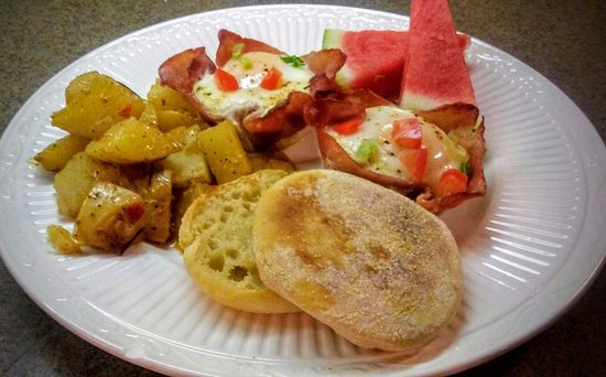 Natchitoches, LA: Ham and Egg Crisp served with Rosemary Potatoes and fresh watermelon