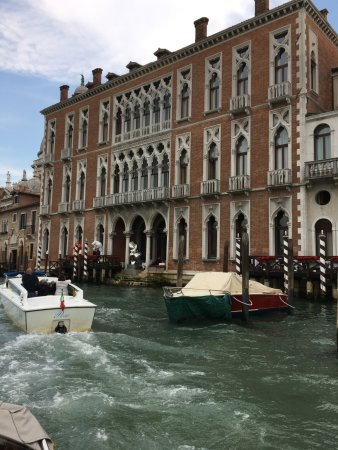 Approaching the hotel by water taxi