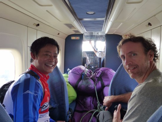 Flying to Jomsom for Lower Mustang mountain bike tour with Jamie and Anita from Isles of Men !