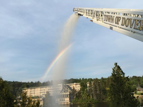 Dover, VT: Rainbow courtesy of our local fire department training in Snow Lake.