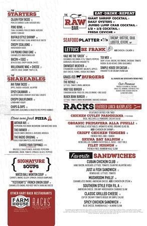 Racks Downtown Eatery + Tavern: Spring/Summer Dinner menu