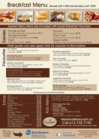 Pembroke, Kanada: Breakfast menu