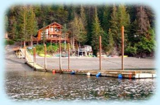 The view from the water looking in at Otter Cove Resort