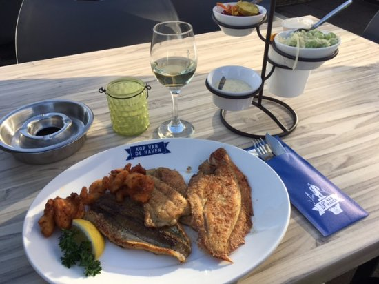 Ijmuiden, Países Baixos: Fishing net as main course (4 different fish), Chardonnay white wine