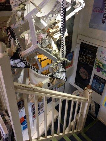 Tavistock, UK: Creation hanging in narrow stairwell.