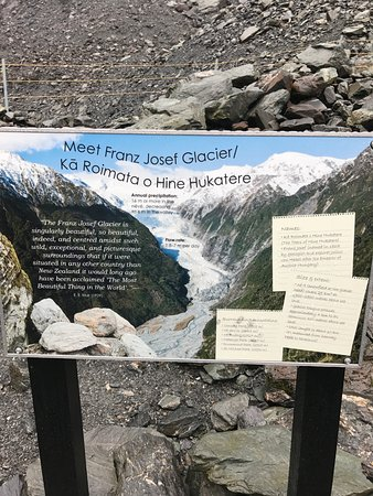 Franz Josef, Nya Zeeland: sign at end of trail