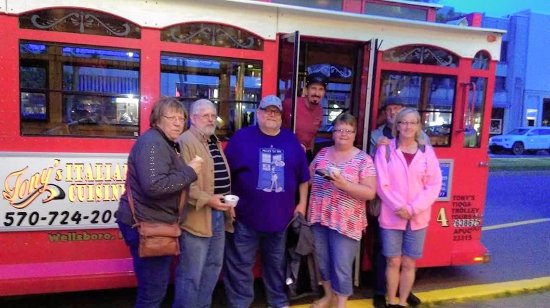 Wellsboro, PA: Our group with Tony of Tony's Tioga Trolley Tours