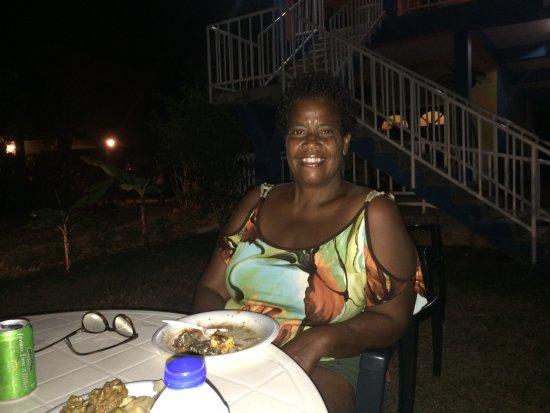 Buccoo, Tobago: Enjoying a harvest dinner at Fish!