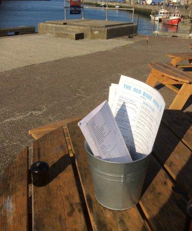 Amble, UK: Menus in a bucket