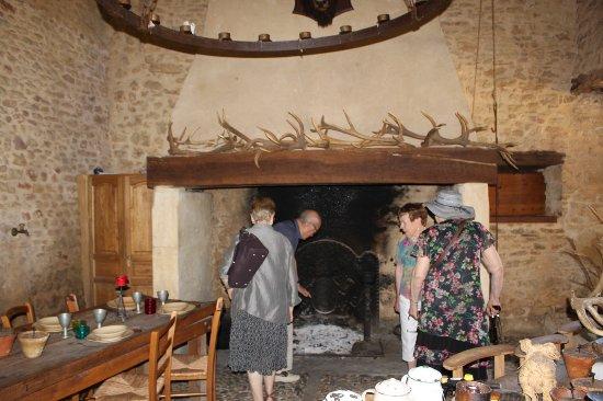 Villefranche-du-Perigord, Francia: cheminée assez impressionnante avec sa collection de bois.