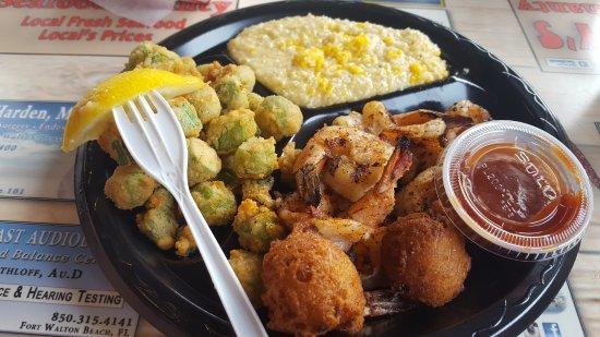 Stewby's Seafood Shanty: Chicken strips good Fried mahi mahi very good Fish tacos amazing Grilled shimp, fried okra, chee