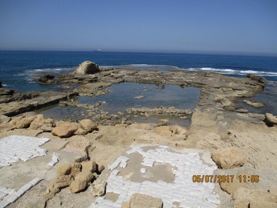 Caesarea, Israel: Palace ruins with a pool dating back to Roman and Byzantine periods.