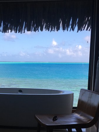 Conrad Bora Bora Nui: View from one of the 3 bathrooms