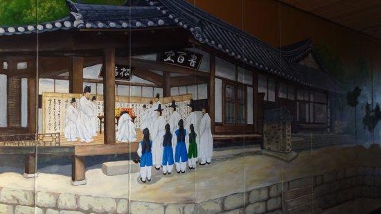 Gyeongju, Sydkorea: Murales que representan la vida en Yangdong antiguamente
