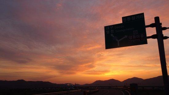 Gyeongju, Sydkorea: Atardecer desde la carretera