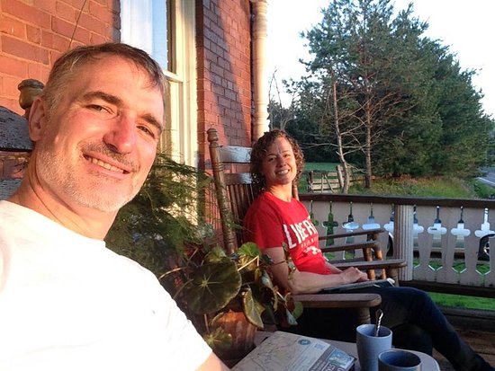 Confluence, PA: Evening sun on the porch.