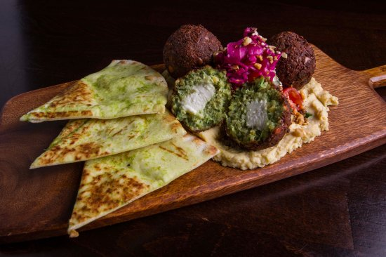 The Raven Bistro: Feta Stuffed Falafels on a bed of house made hummus