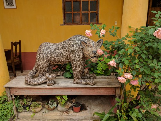Na Bolom Cultural Centre : Na Bolom guardian jaguar in courtyard