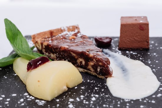 The Selkirk Arms Bar, Bistro and Restaurant: Caramel Walnut Tart, poached pear, Chocolate pave, Coconut cream