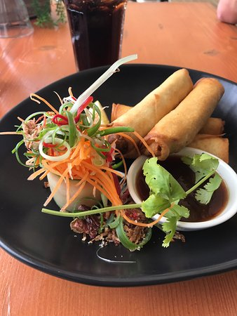 Mumm's on the Myall: Yummy duck spring rolls! The best!