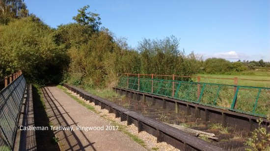 old railway bridge complete with sleepers on one side, outside Ringwood.