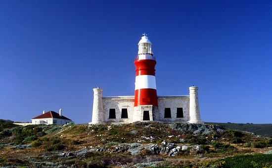 The Cape Agulhas Lighthouse, located in L'Agulhas, at the southernmost tip of Africa.
