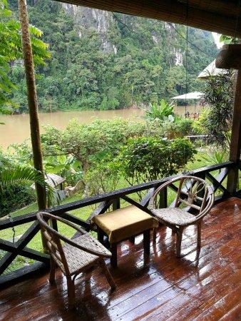 Nong Khiaw, Laos: Balcony of room