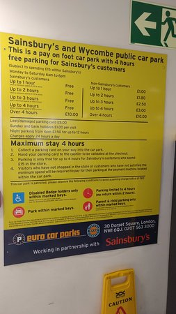 High Wycombe, UK: Car Park charges 1 (confusing)