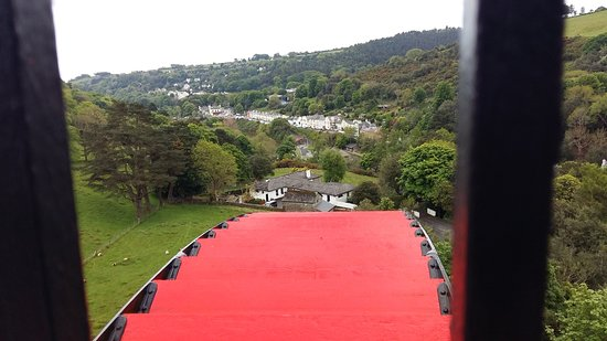 Laxey, UK: View from the highest platform, looking over the wheel into the valley.