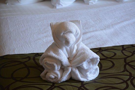 Gardiner, MT: towel folded to look like bear