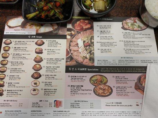 sun nong dan menus at the table