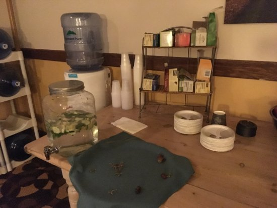 """Mendon, VT: The """"hospitality"""" area -- paper plates, apples/oranges, hot/cold water & tea."""