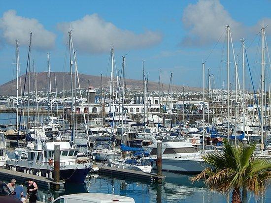View over Marina towards Playa Blanca town.