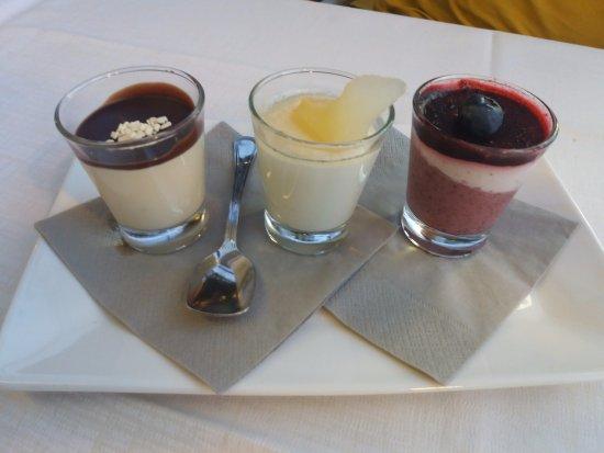 Ristorante Al Pescatore: Tris di semifreddi - cioccolato, pera&zenzero, frutti di bosco