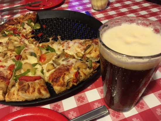 "Averill Park, NY: Mushroom and peppers large/14"" Pie and Farmer's Daughter Draft Beer"