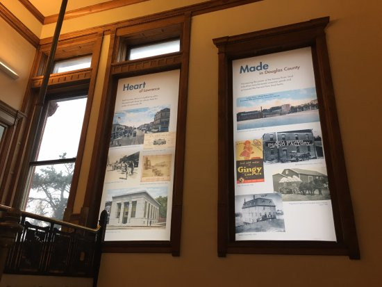 Lawrence, KS: Panels in the main staircase tell stories of Douglas County history.