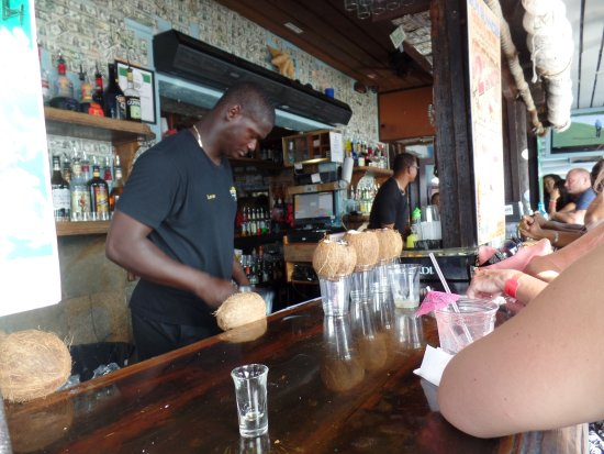 Rum Runners: making pina coladas in a coconut