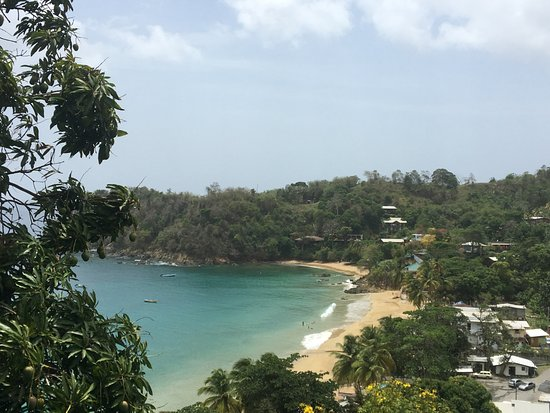 Castara, Tobago: View of the beach/bay/town from our room.