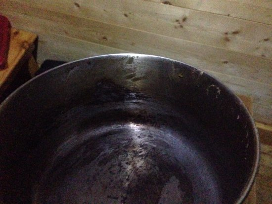 New Germany, Canada: The food-encrusted cooking pot at Will's Cabin