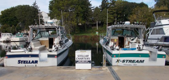Located in Kenosha, Wisconsin. Two 32' charter fishing boats available 7 days a week April thru